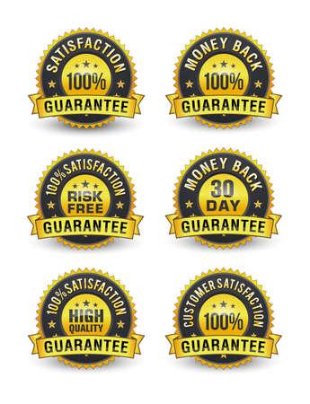 100% Risk free customer satisfaction guarantee badge set.