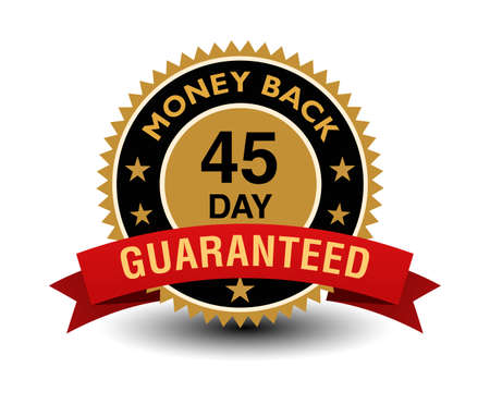 Simple yet powerful golden 45 day money back guaranteed badge with red ribbon.
