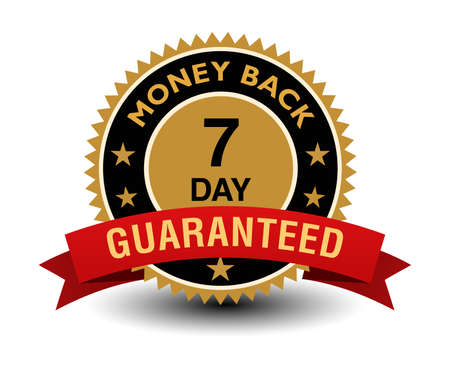 Simple yet powerful golden 7 day money back guaranteed badge with red ribbon.