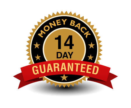 Simple yet powerful golden 14 day money back guaranteed badge with red ribbon.