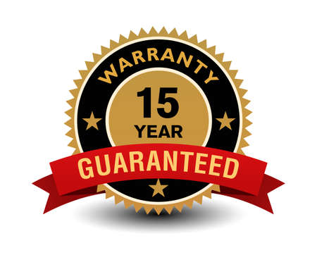Simple yet powerful golden 15 year warranty badge with red ribbon.