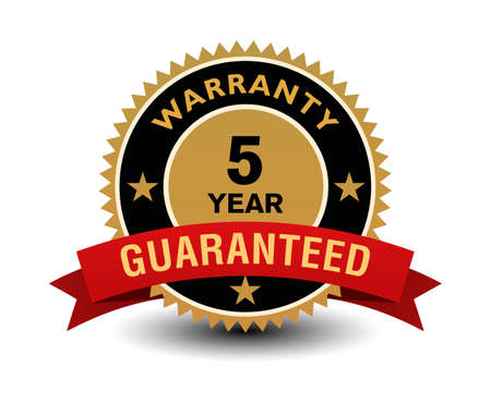 Simple yet powerful golden 5 year warranty badge with red ribbon.