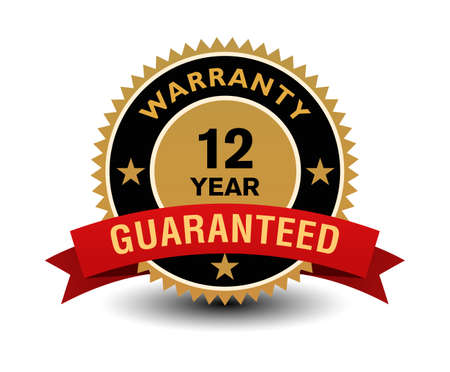 Simple yet powerful golden 12 year warranty badge with red ribbon.