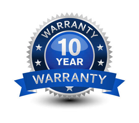Very powerful, heavy, reliable, blue 10 year warranty badge/seal with ribbon. Vektorové ilustrace