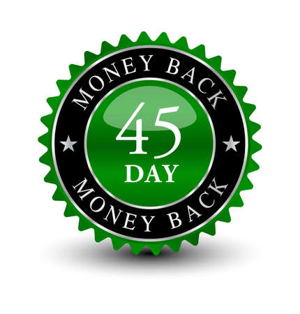 Green powerful, reliable emblem seal 45 day money back guaranteed badge.