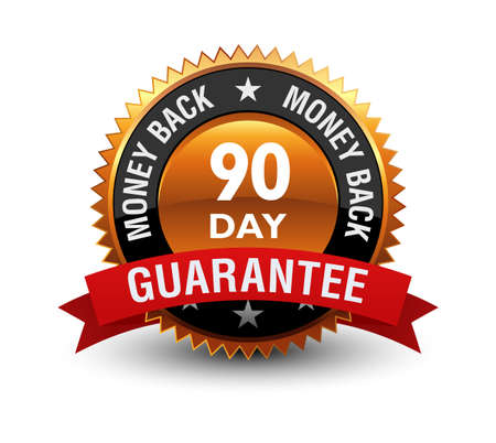 Heavy, powerful, Medal, Label, Icon, Seal, Sign, 90 day money back guarantee badge with red ribbon on top, Isolated on White Background.