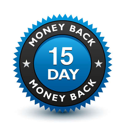Blue simple yet reliable, medal, Label, Icon, Seal, Sign 15 day money back guarantee badge Isolated on White Background 일러스트