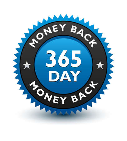 Blue simple yet reliable, medal, Label, Icon, Seal, Sign 365 day money back guarantee badge Isolated on White Background.