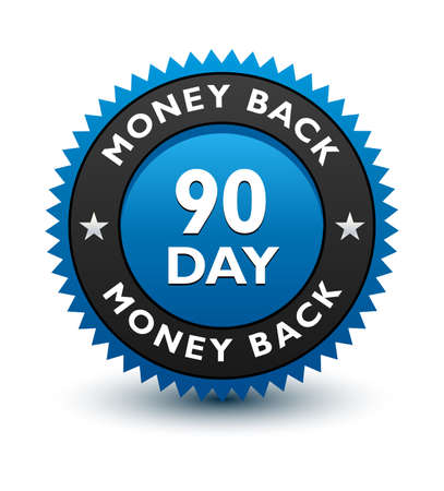 Blue simple yet reliable, medal, Label, Icon, Seal, Sign 90 day money back guarantee badge Isolated on White Background.