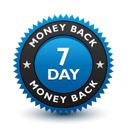 Blue simple yet reliable, medal, Label, Icon, Seal, Sign 7 day money back guarantee badge Isolated on White Background.