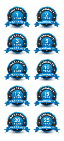 Blue simple yet reliable, medal, Label, Icon, Seal, Sign year warranty badge set with ribbon Isolated on White Background.
