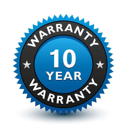 Blue simple yet reliable, medal, Label, Icon, Seal, Sign 10 year warranty badge Isolated on White Background.