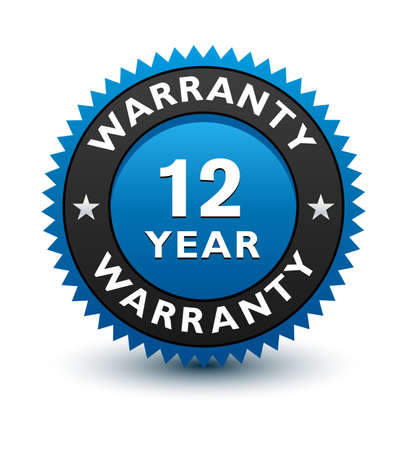 Blue simple yet reliable, medal, Label, Icon, Seal, Sign 12 year warranty badge Isolated on White Background.