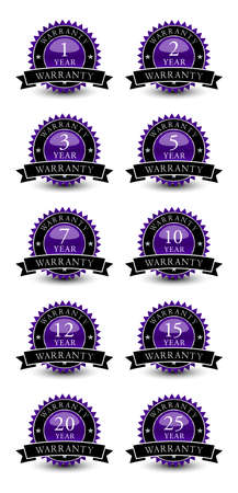 Purple colored seal, sign, label, icon year warranty badge set with ribbon on top isolated on white background.