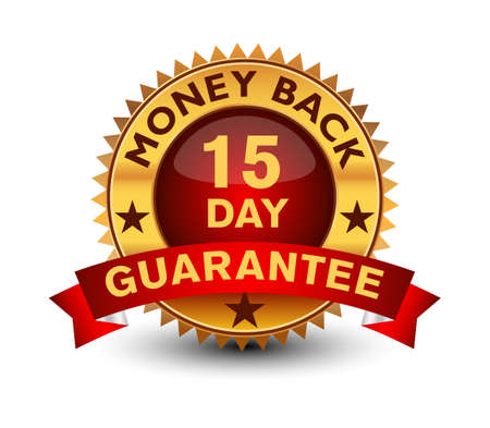 Powerful golden colored seal, stamp or badge, 15 day money back guarantee badge isolated on white background.