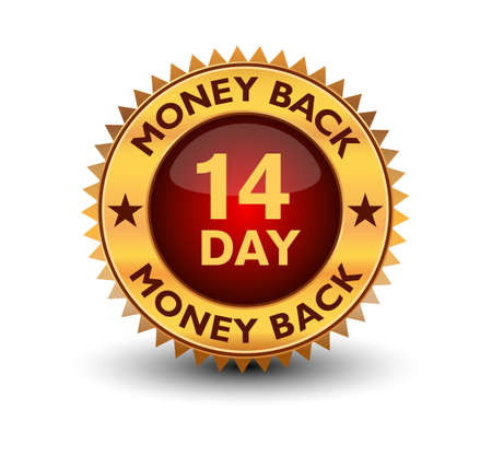 Powerful golden colored seal, stamp or badge 14 day money back guarantee badge isolated on white background. Vetores
