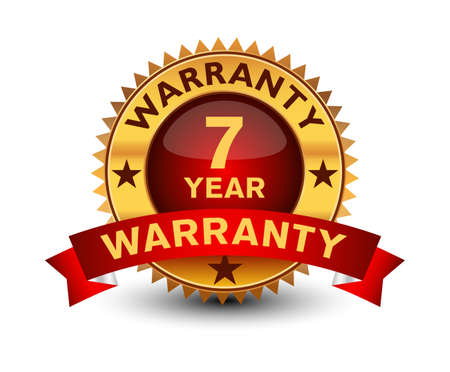 Powerful golden colored seal, stamp or badge, with red ribbon, 7 year warranty badge isolated on white background.