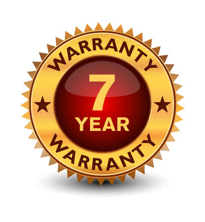 Powerful golden colored seal, stamp or badge, 7 year warranty badge isolated on white background.