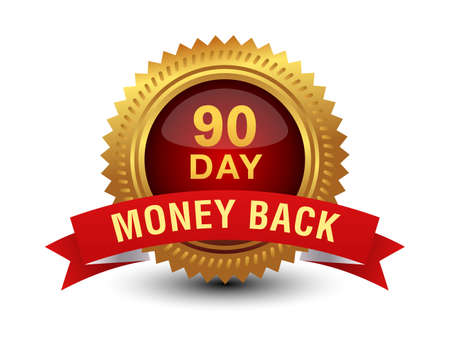 90 Day money back golden red seal, stamp, badge, stamp, sign with red ribbon isolated on white background.