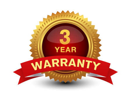 3 year warranty golden red seal, stamp, badge, stamp, sign with red ribbon isolated on white background.