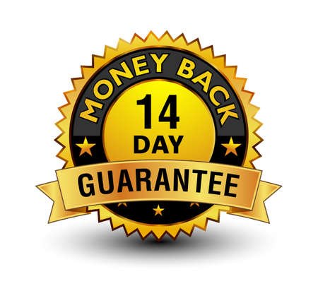 Strong golden colored 14 day money back guarantee badge.