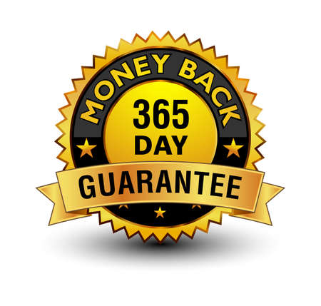 Strong golden colored 365 day money back guarantee badge.