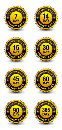 Powerful golden money back guarantee badge, stamp, seal, sign, label set/kit isolated on white background.
