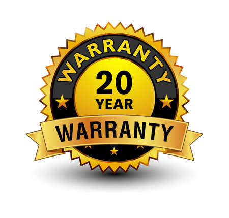 Powerful golden 20 year warranty badge, stamp, seal, sign, label isolated on white background with golden ribbon on top.