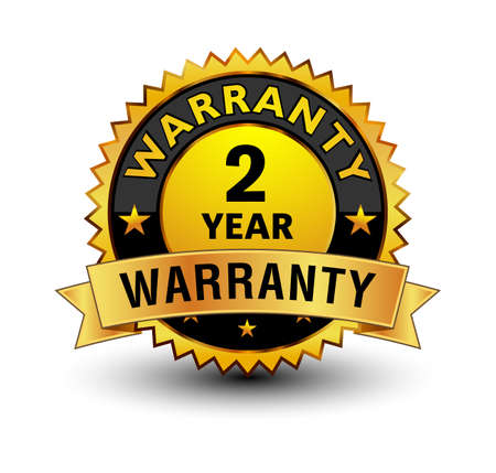 Powerful golden 2 year warranty badge, stamp, seal, sign, label isolated on white background with golden ribbon on top.