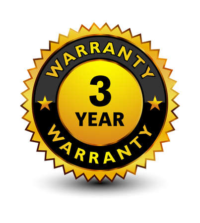 Powerful golden 3 year warranty badge, stamp, seal, sign, label isolated on white background on top.