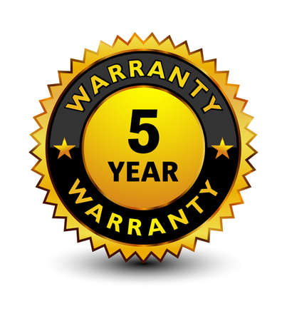 Powerful golden 5 year warranty badge, stamp, seal, sign, label isolated on white background on top.