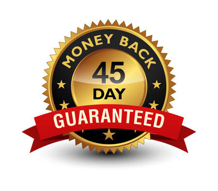 45 Day money back guaranteed golden seal, stamp, badge, stamp, sign, label with red ribbon isolated on white background.