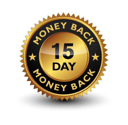 15 Day money back guaranteed golden seal, stamp, badge, stamp, sign, label isolated on white background.