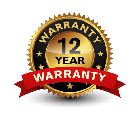 12 Year warranty golden seal, stamp, badge, stamp, sign, label with red ribbon isolated on white background.