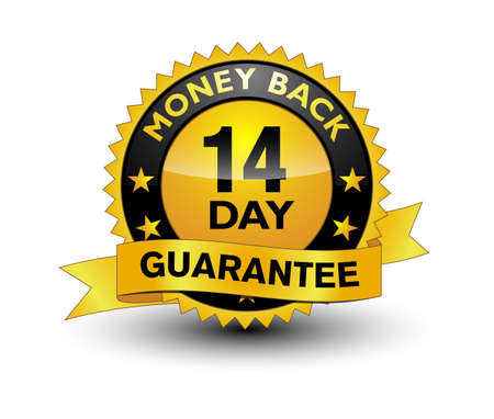 Reliable powerful golden 14 day money back guarantee banner, sticker, tag, icon, stamp, label, sign isolated on white background.