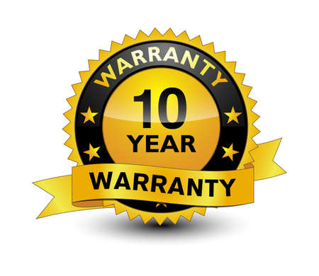 Reliable powerful golden 10 year warranty banner, sticker, tag, icon, stamp, label, sign with ribbon isolated on white background.