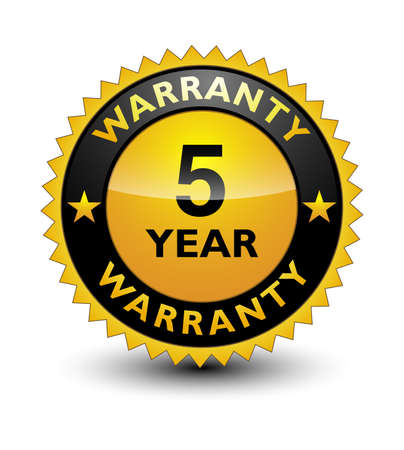 Reliable powerful golden 5 year warranty banner, sticker, tag, icon, stamp, label, sign with ribbon isolated on white background.
