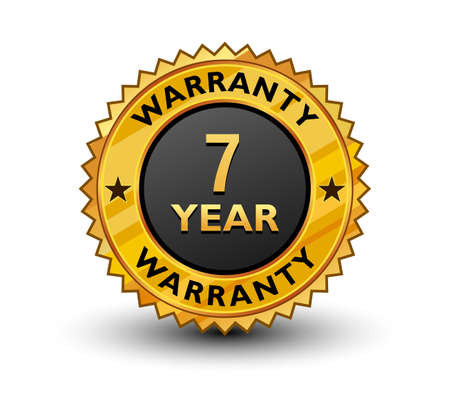 Strong and powerful golden 7 year warranty badge, sign, seal, stamp, label isolated on white background.