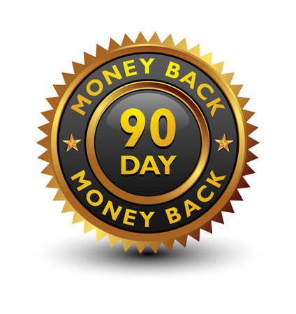 Strong, majestic, powerful, 90 day money back guaranteed badge, sign, seal, stamp, label isolated on white background.