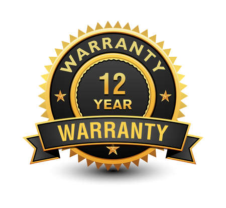Heavy powerful 12 year warranty badge, seal, stamp, label with ribbon isolated on white background.