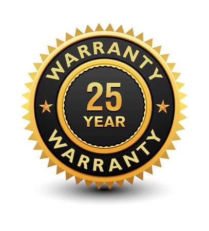 Heavy powerful 25 year warranty badge, seal, stamp, label isolated on white background.