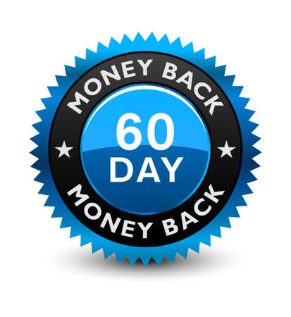 Blue simple yet reliable, medal, Label, Icon, Seal, Sign 60 day money back guarantee badge Isolated on White Background.