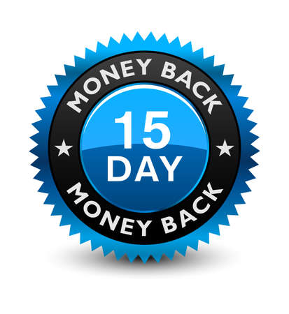 Blue simple yet reliable, medal, Label, Icon, Seal, Sign 15 day money back guarantee badge Isolated on White Background.