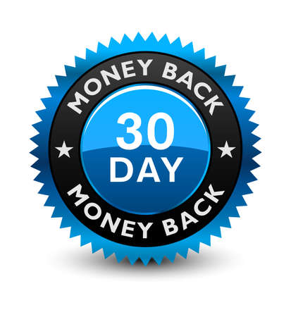 Blue simple yet reliable, medal, Label, Icon, Seal, Sign 30 day money back guarantee badge Isolated on White Background.