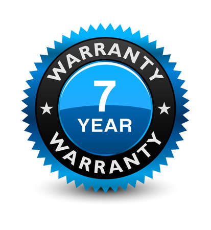Blue simple yet reliable, medal, Label, Icon, Seal, Sign 7 year warranty badge Isolated on White Background.  일러스트