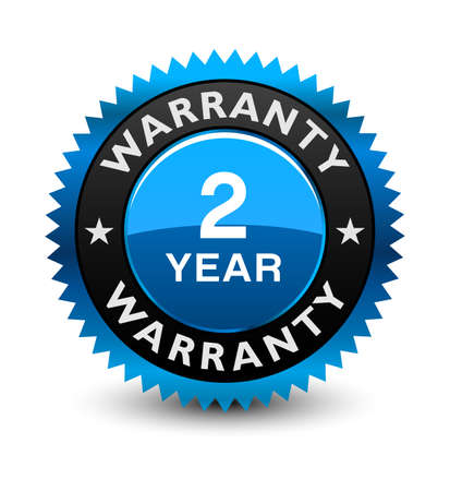 Blue simple yet reliable, medal, Label, Icon, Seal, Sign 2 year warranty badge Isolated on White Background.