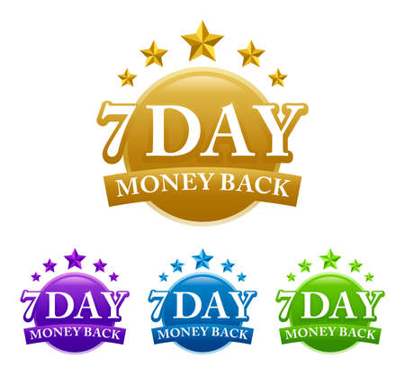 7 Day Money Back 4 color vector badge isolated on white background