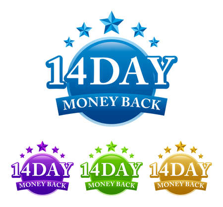 14 Day Money Back 4 color vector badge isolated on white background