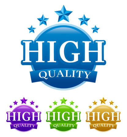 High-quality vector guaranteed vector badge Image, with four color variants isolated on white background.