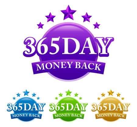 365 Day Money Back 4 color vector badge isolated on white background 矢量图像